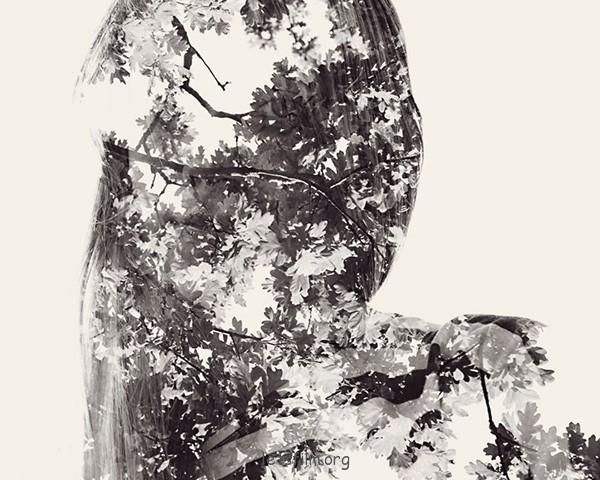 人与自然的多重曝光肖像