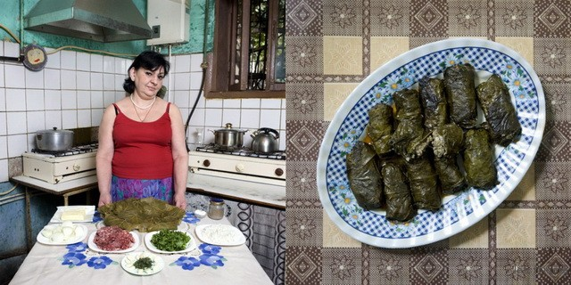 亚美尼亚,Jenya Shalikashuili,58岁,葡萄叶牛肉米卷
