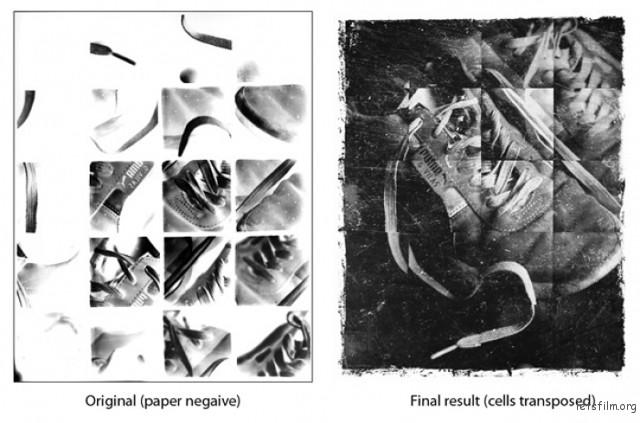 左侧为拍出的负片,右侧围冲洗出来的照片