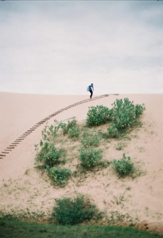 滑沙小伙的背影~ 美奈一边是海,一边是沙漠。沙漠层层叠叠形成了多种色带,来到这里不妨体验下滑沙的乐趣..