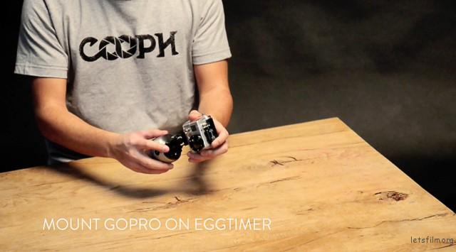 ▲把Go Pro摄影机安装于Egg Timer计时器上。