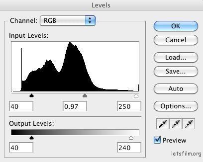 ▲修图时多活用「levels」这功能。