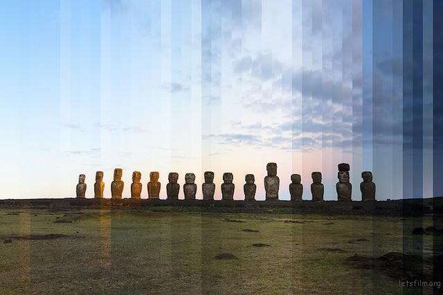 ▲Ahu Tongariki,复活岛,智利
