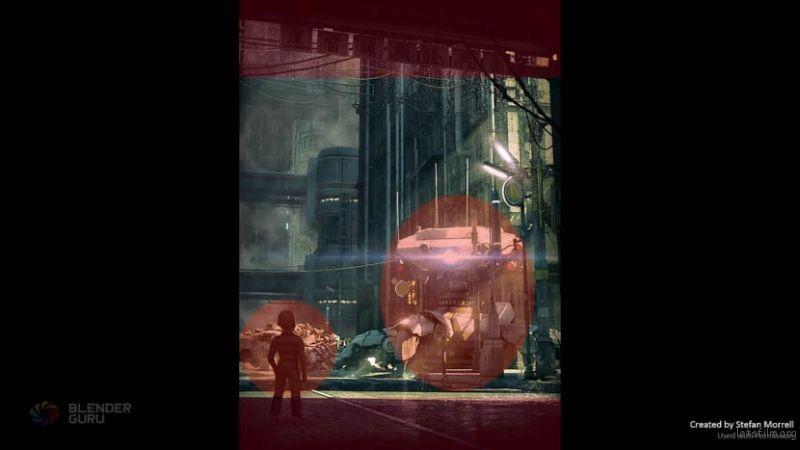 画面上下部份的阴影部份,所占的比例都大致相同。小朋友与射灯之的大小比例也差不多。