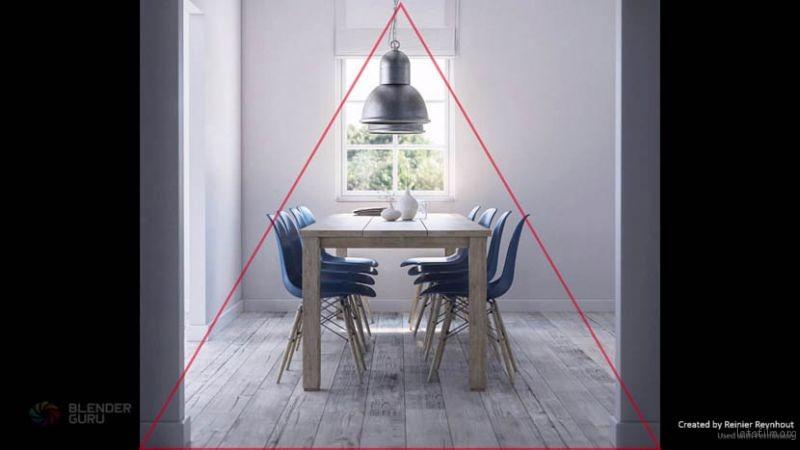 锥形的构图方法,也有点对称的元素。