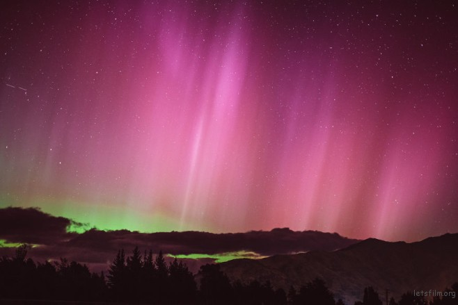 Southern lights (aurora australis) in Wanaka