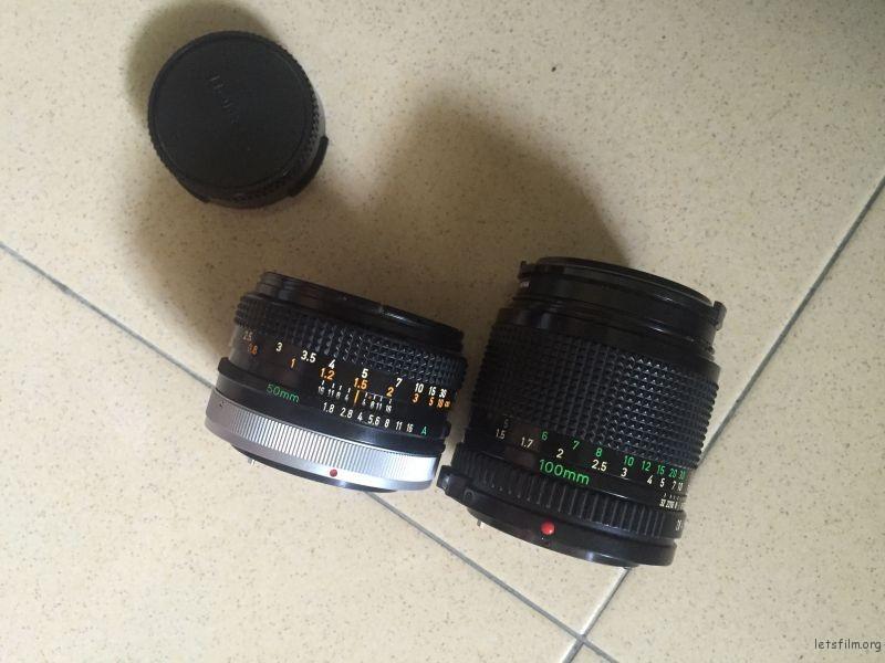 Canon fd 100mm f2.8 & Canon fd 50mm f1.8