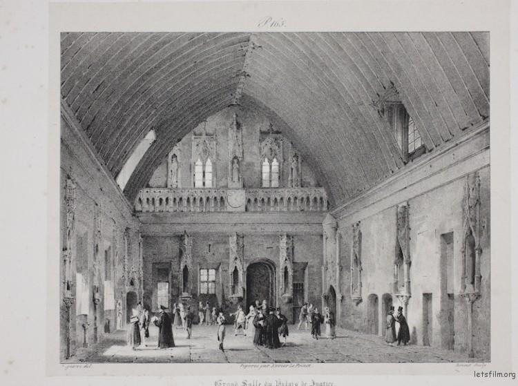 """Louis‑Jacques‑Mandé Daguerre, """"Grand Salle du Palais de Justice, Rouen"""" (1825)"""