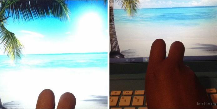 度假拍照片。。。在电脑前度假