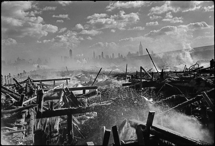 Fire in Hoboken, facing Manhattan. 1947