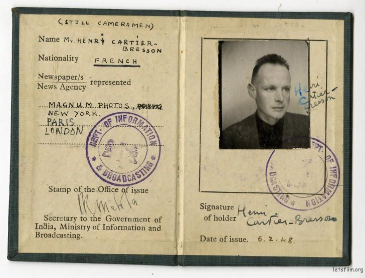 布列松的新闻记者通行证