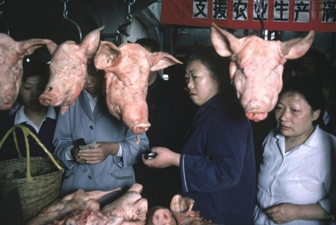 1979年,上海,菜市场摊位前悬挂的猪头