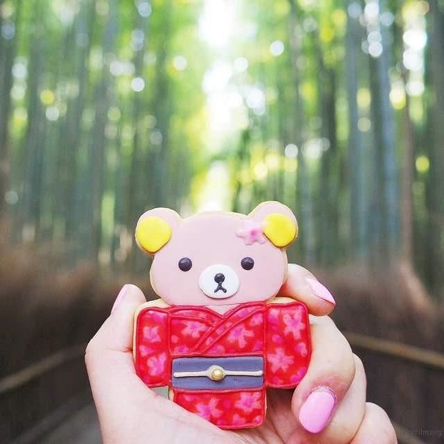 穿着和服的熊 日本岚山