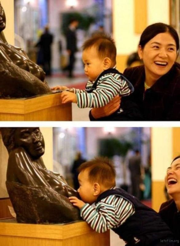 """从小朋友跟雕像的互动最容易看到纯真的""""本能""""反应"""