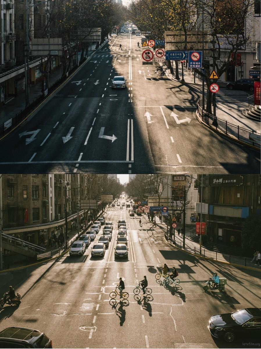 去年年后,平时繁忙的淮海路上只有偶尔开过去的一辆车,同样几乎看不到人。